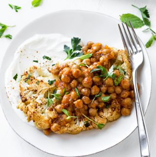 Cauliflower Steak with Harissa Chickpeas