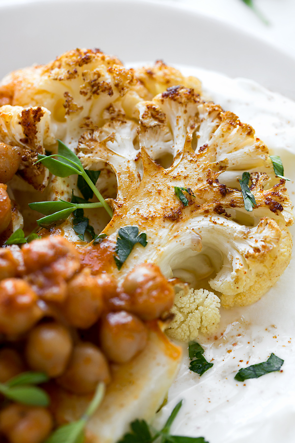 Cauliflower Steak with Harissa Chickpeas | thecozyapron.com