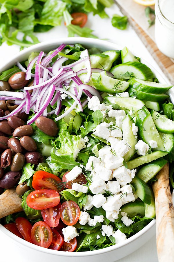 Greek Salad Prep | thecozyapron.com