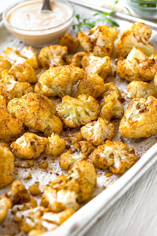 Roasted Cauliflower on Baking Sheet | thecozyapron.com