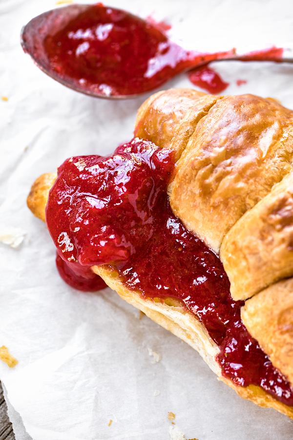 Strawberry Jam on Croissant | thecozyapron.com
