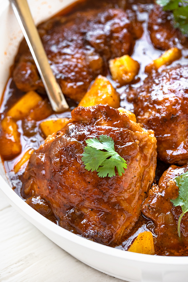 Pineapple Chicken with Spoon | thecozyapron.com