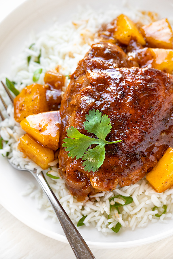 Pineapple Chicken with Rice | thecozyapron.com
