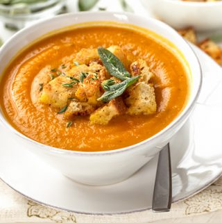 Pumpkin Soup with Buttery Sage Croutons | thecozyapron.com