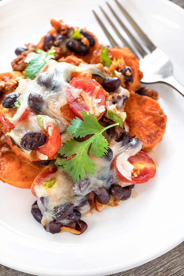 Southwest Sweet Potato Casserole with Chorizo | thecozyapron.com