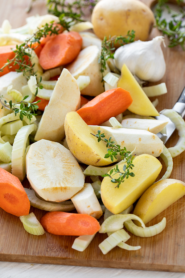 Vegetables for Chicken Pot Roast | thecozyapron.com