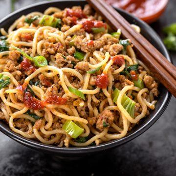 Spicy Pork with Noodles | thecozyapron.com