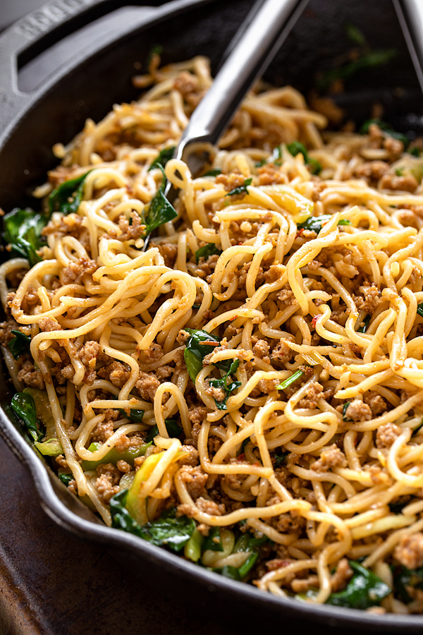 Spicy Pork with Noodles | thecozyapron.com