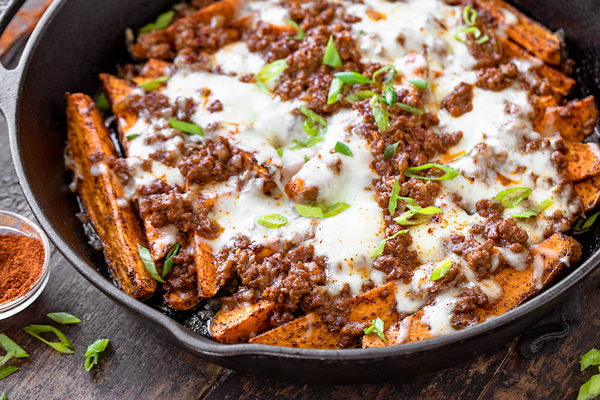 Baked Sweet Potato Fries with Chili Cheese