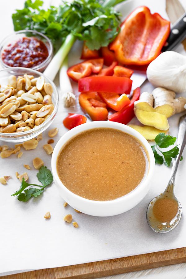 Ingredients for Peanut Sauce Chicken | thecozyapron.com