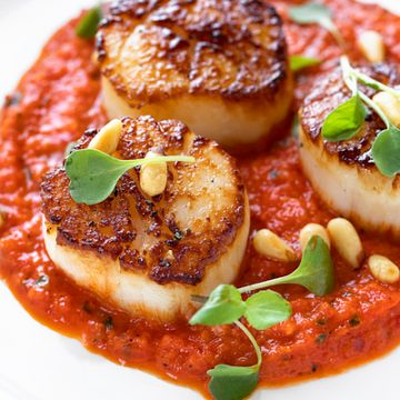 Pan Seared Scallops with Roasted Red Pepper Sauce | thecozyapron.com