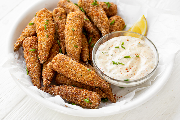 Fried Okra with Creole Mustard Remoulade