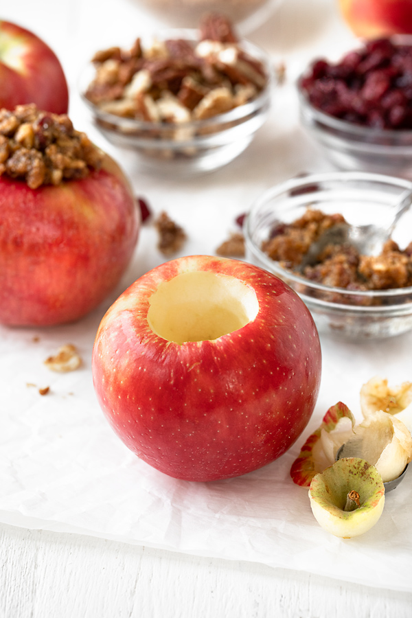 Ingredients for Baked Apples with Cranberry Nut Crumble   thecozyapron.com