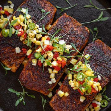 Blackened Salmon with Pickled Corn Relish | thecozyapron.com