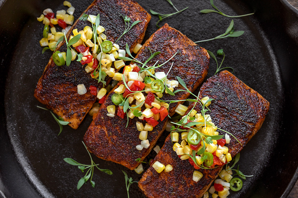 Blackened Salmon with Pickled Corn Relish