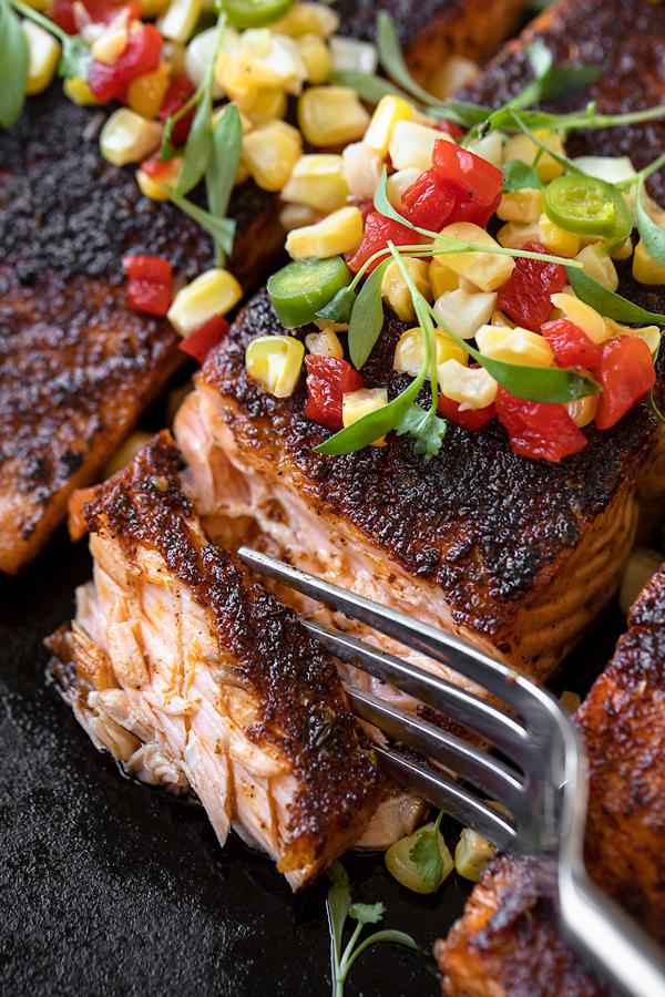 Juicy Interior of Blackened Salmon with Pickled Corn Relish | thecozyapron.com