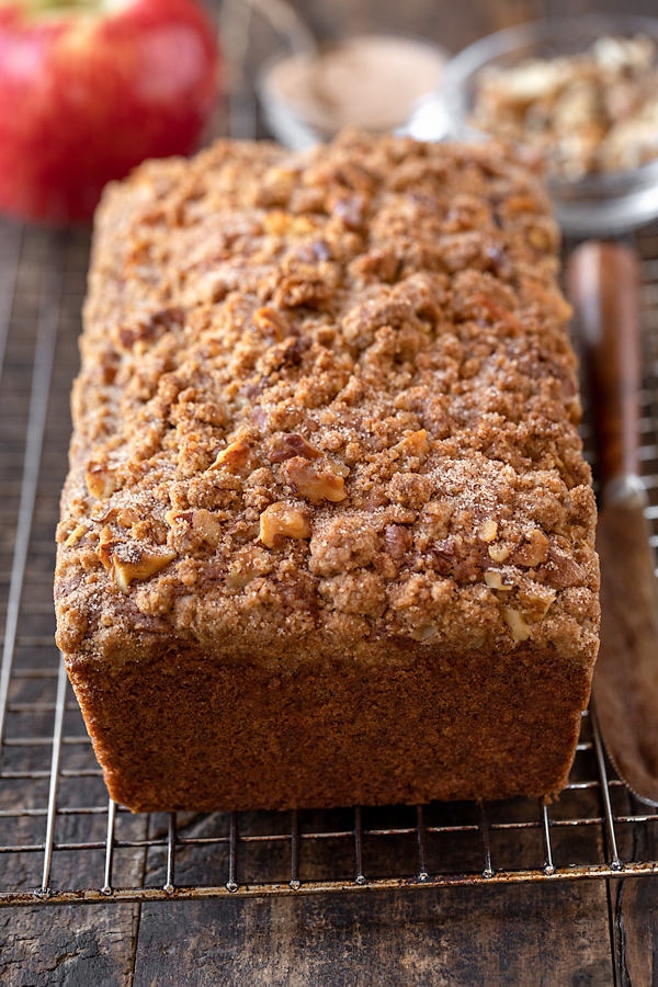 Apple Bread with Cinnamon Sugar Streusel on Wire Rack | thecozyapron.com