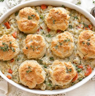 Chicken Pot Pie with Buttery Drop Biscuits   thecozyapron.com