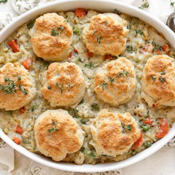 Chicken Pot Pie with Buttery Drop Biscuits | thecozyapron.com