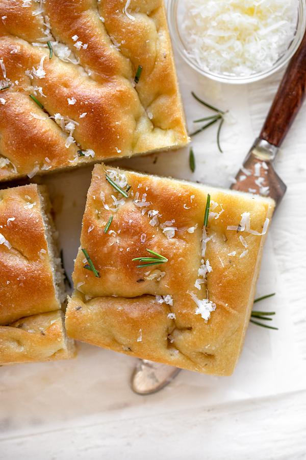 Slice of Focaccia with Rosemary and Garlic | thecozyapron.com