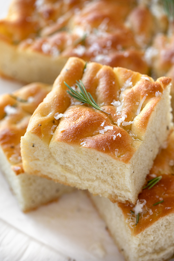 Squares of Focaccia with Rosemary and Garlic   thecozyapron.com