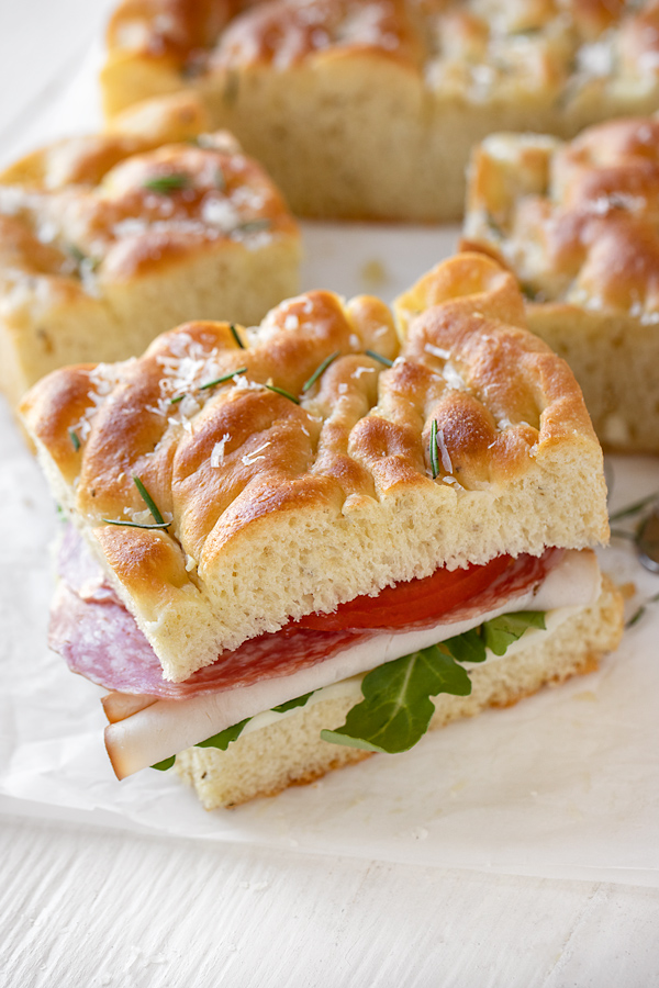 Focaccia Sandwich with Rosemary and Garlic   thecozyapron.com