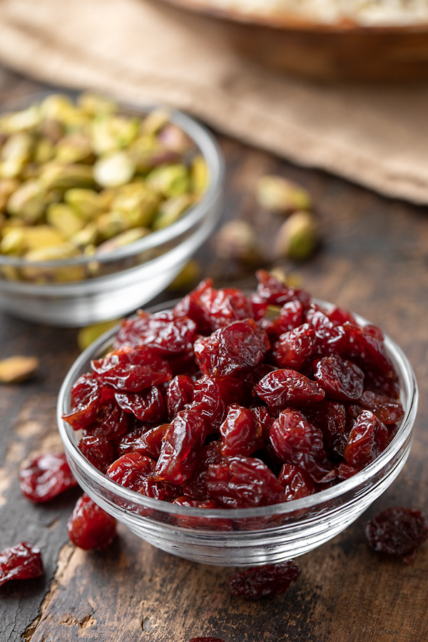 Dried Cherries and Pistachios for Rice Pilaf | thecozyapron.com