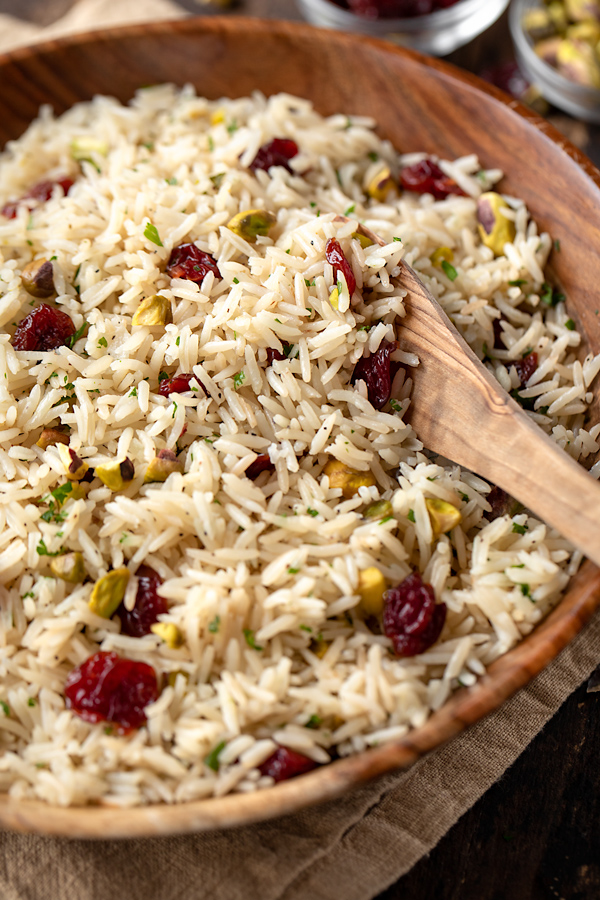 Rice Pilaf with Spoon | thecozyapron.com
