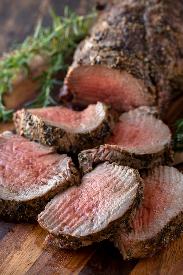 Slices of Beef Tenderloin with Herb-Pepper Crust | thecozyapron.com
