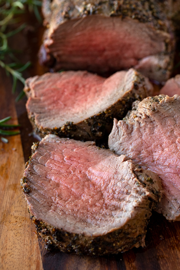 Sliced Beef Tenderloin with Herb-Pepper Crust | thecozyapron.com