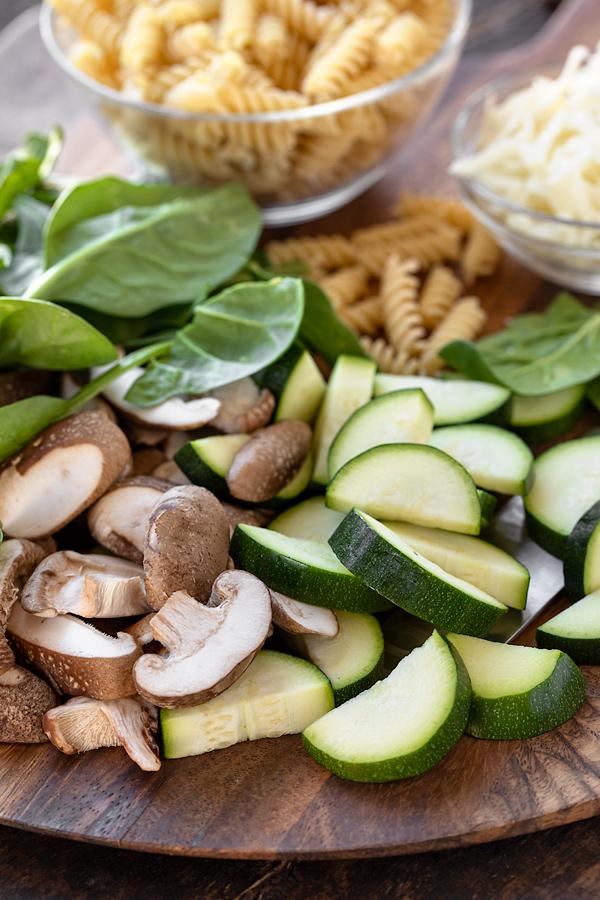 Fresh Ingredients for Vegetable Pasta   thecozyapron.com