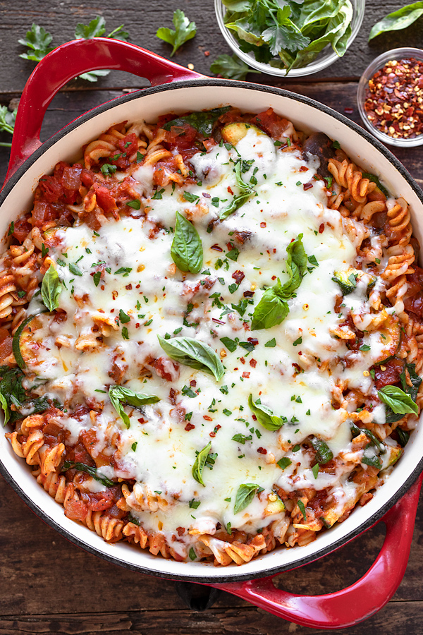 Vegetable Pasta with Mozzarella   thecozyapron.com
