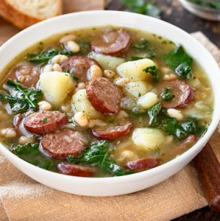 Sausage Soup with Bread | thecozyapron.com