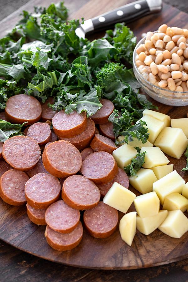 Fresh Ingredients for Sausage Soup | thecozyapron.com