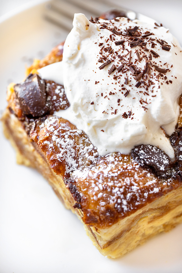 Croissant Bread Pudding with Chantilly Whipped Cream | thecozyapron.com