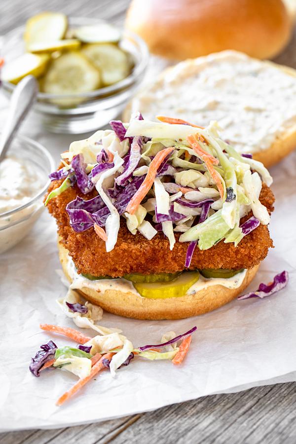 Fish Sandwich with Spicy Slaw | thecozyapron.com