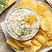 Sour Cream and Onion Dip with Chips | thecozyapron.com
