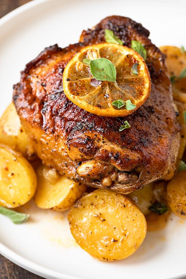 Harissa Chicken with Baby Potatoes | thecozyapron.com
