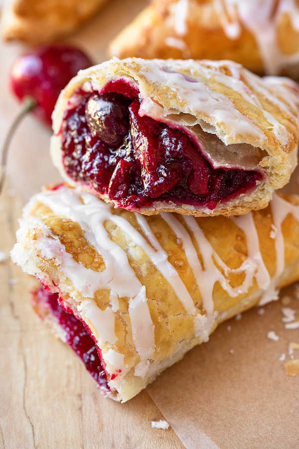 Glossy Cherry Filling Inside of a Cherry Turnovers | thecozyapron.com