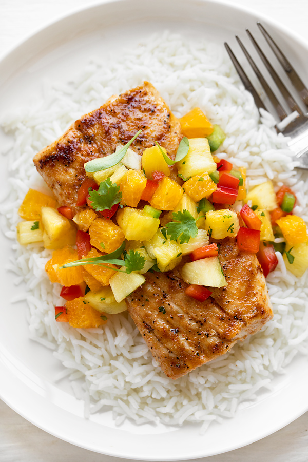 Grilled Mahi Mahi over Coconut Rice | thecozyapron.com