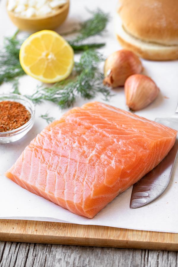 Fresh Salmon for Mediterranean Salmon Burgers | thecozyapron.com