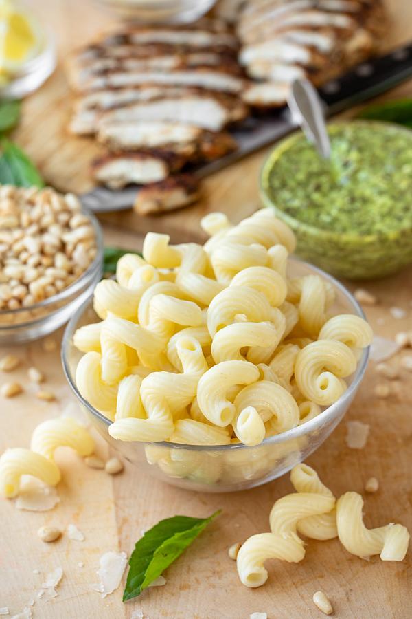 Ingredients for Pesto Pasta Salad | thecozyapron.com
