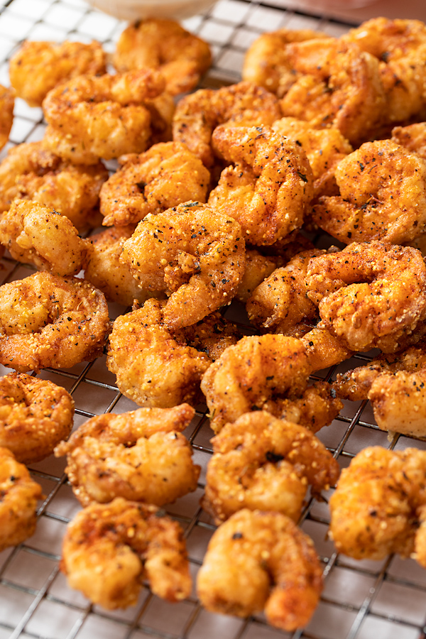 Freshly Fried Shrimp for Po' Boy Sandwiches | thecozyapron.com