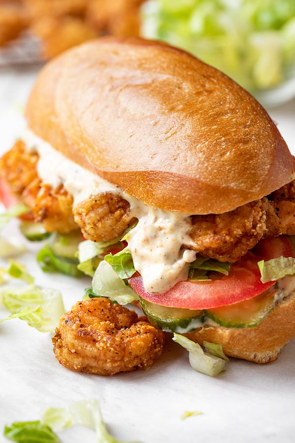 Po' Boy Sandwich with Spicy Creole Mayo | thecozyapron.com